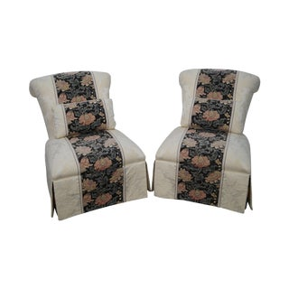 Henredon Schoonbeck White Slip Lounge Chairs - A Pair