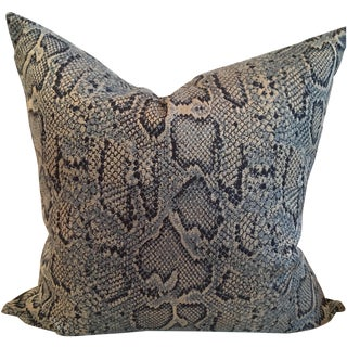 Blue Snake Skin Fabric Velvet Back Pillows - Pair