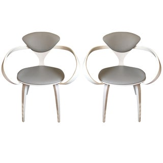Norman Cherner White Lacquer Armchairs - A Pair