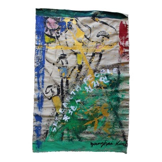 Korean Abstract Expressionist Textile Fabric Painting by Younghui-Kim