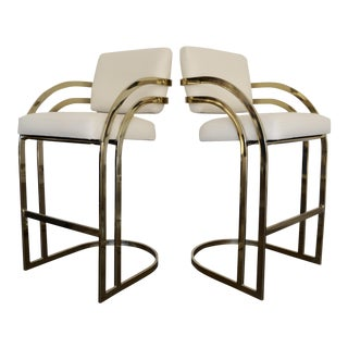 Hollywood Regency Cantilevered Bar Stools in Brass - A Pair