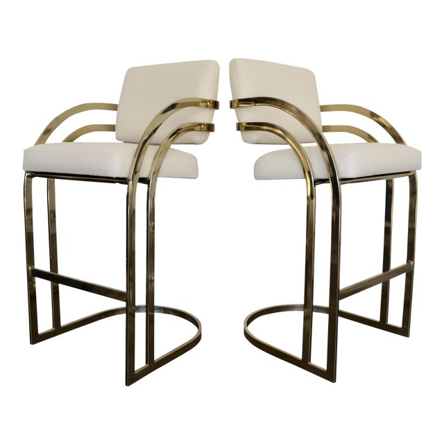 Image of Hollywood Regency Cantilevered Bar Stools in Brass - A Pair