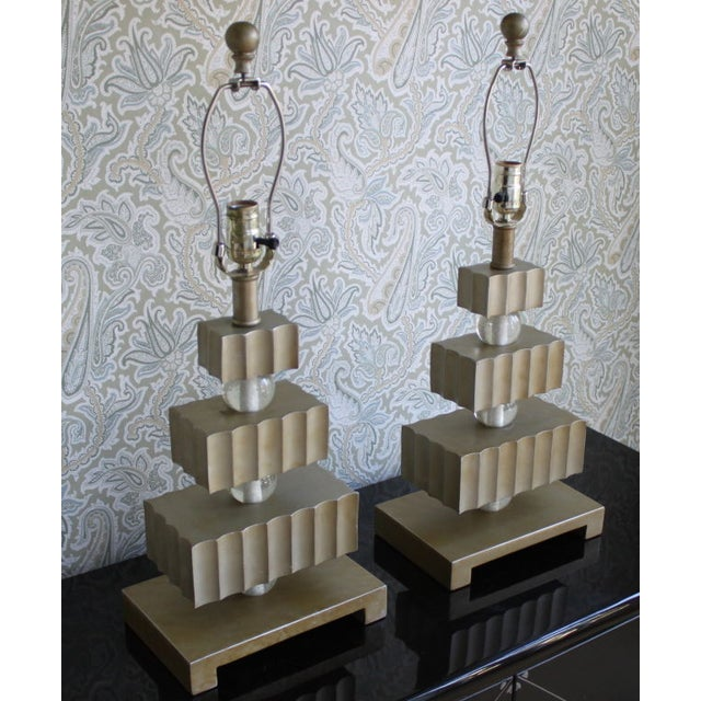 Image of Hollywood Regency Three Tier Table Lamps - Pair