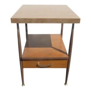 Vintage Danish Mid Century Modern Two Tier Side End Table or Nightstand