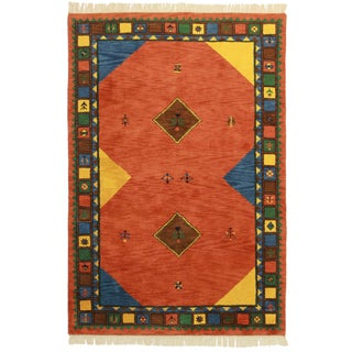 "Hand Knotted Wool Indian Gabeh Design Rug - 5'3"" X 7'9"""