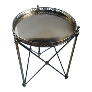Neoclassical Satin Steel & Brass Tray Table
