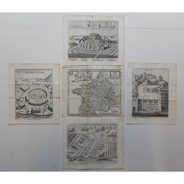 Image of Antique French Maps/Plans Engravings - Set of 5