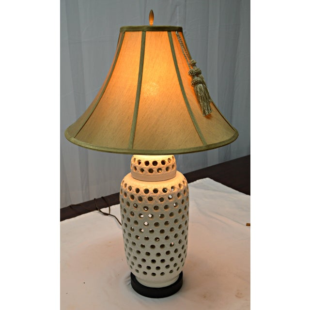 Mid-Century White Perforated Porcelain Table Lamp - Image 6 of 9