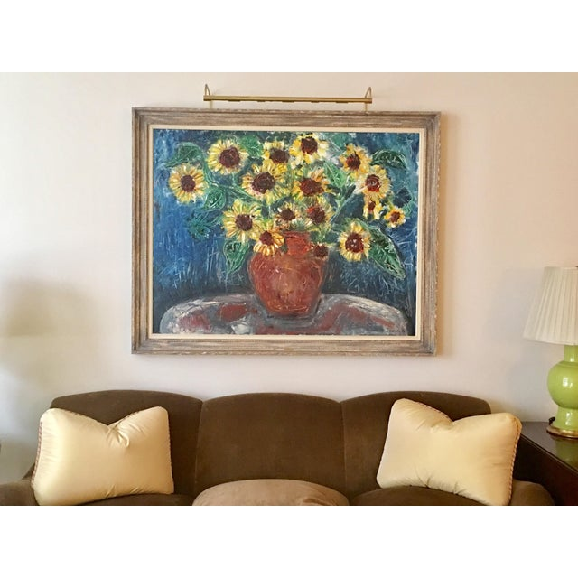 """Large """"Sunflower"""" Painting by Trieste - Image 6 of 6"""