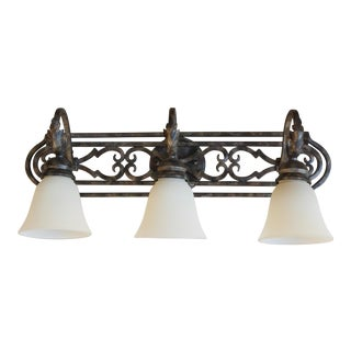 Contemporary Brass Finished Three-Light Vanity Fixture