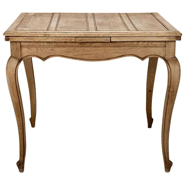 French Bleached Oak Table with Self Storing Leaves - Image 1 of 9