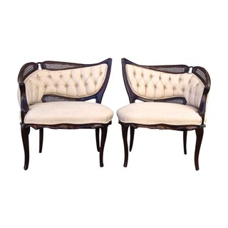 Vintage tufted & Caned Side Chairs - A Pair