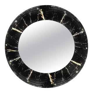 Faux Marble Round Mirror