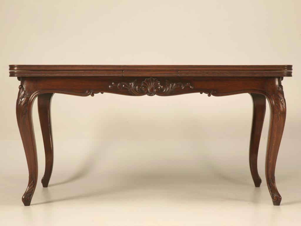 Spectacular Antique Italian Louis XV Oak U0026 Walnut Draw Leaf Table   Image 8  Of