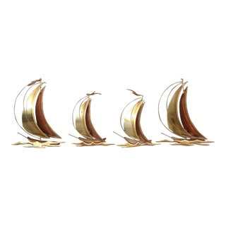 Metal Wall Art Sail Boats - Set of 4