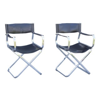 Arrben Italian Leather & Chrome Chairs - A Pair