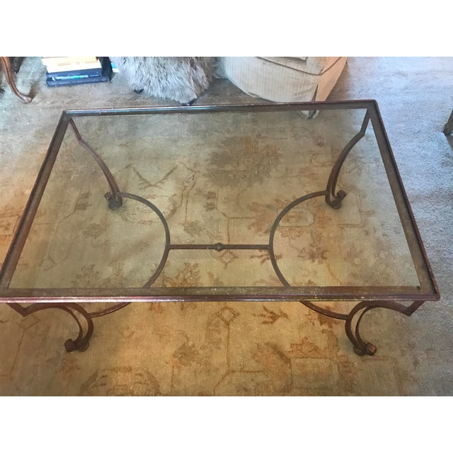 Large Rectangular Iron Glass Top Coffee Table - Image 2 of 4