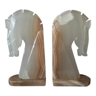 Vintage Alabaster Marble Horse Head Bookends - A Pair