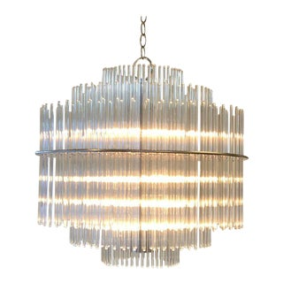 Chrome and Glass Chandelier by Lightolier