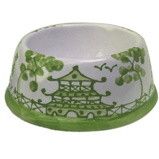 Green Chinoiserie Dog Bowl