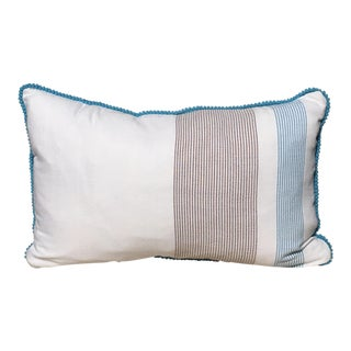 Handwoven Krama Khmer Brown & Blue Pillow