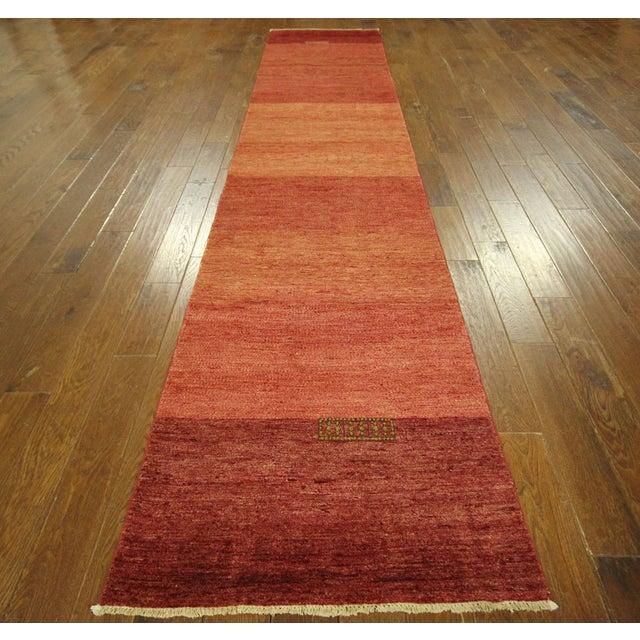 "Orange Striped Gabbeh Runner Rug - 2'10"" x 13'9"" - Image 3 of 10"