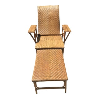 French Rattan & Bamboo Chaise & Footrest