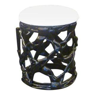 Chic Black Resin Ribbon Stool Seat