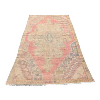 Antique Hand-Knotted Oushak Muted Red Wool Area Rug - 4′1″ × 7′7″