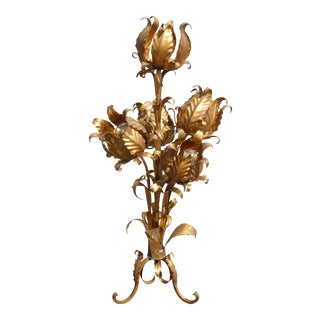 Hollywood Regency Rococo Gilt Tole Metal Table Lamp