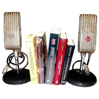 1945 RCA Vintage Broadcast Microphones As Bookends or As Sculpture. Rare and Original.