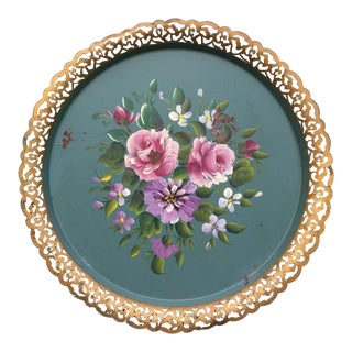 Vintage Pink & Green Floral Tole Tray