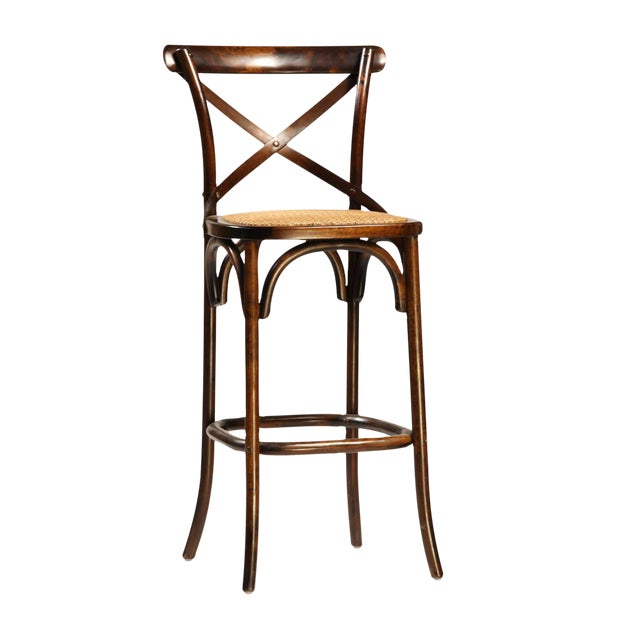 Antiqued Wood & Rattan Bar Stool - Image 1 of 2