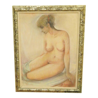 Large Oil Pastel Nude in Gilded Frame