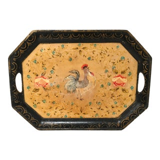 Vintage Paper Mache Rooster Motif Tray