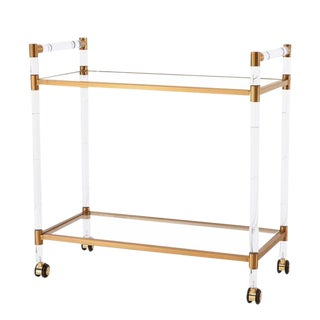 Charles Hollis Jones Style Lucite and Brass Bar Cart