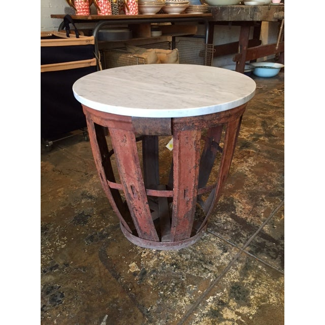 Vintage Bottle Basket With Marble Top Table - Image 2 of 4