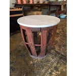 Image of Vintage Bottle Basket With Marble Top Table