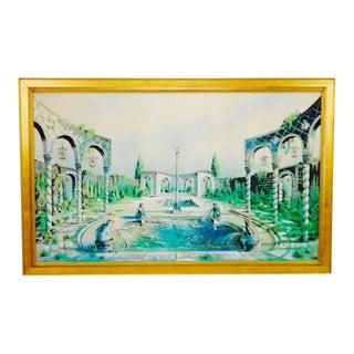 Vintage Signed Illuminated Giclee Painting on Panel