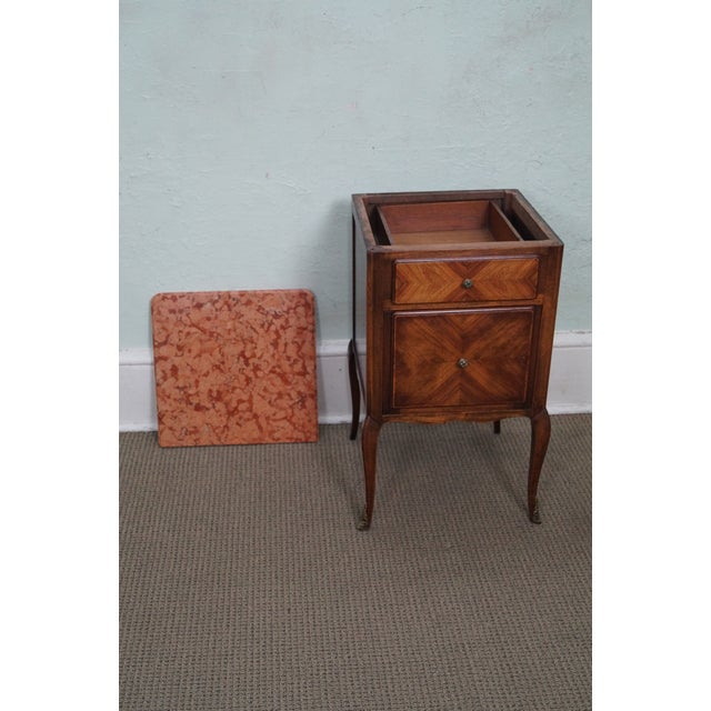 Antique Louis XV Walnut Marble Top Nightstand - Image 10 of 10