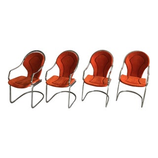 1970's Cantilevered Chrome Dining Chairs - Set of 4