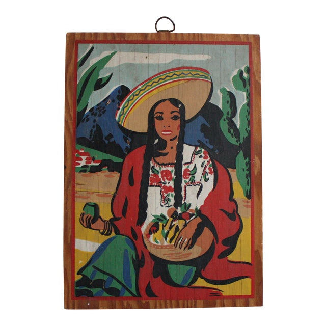 Vintage Mexican Folk Art Painting of a Woman - Image 1 of 4
