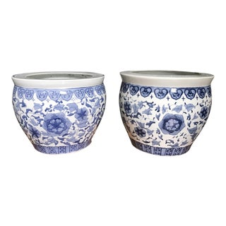Blue & White Chinoiserie Planters - A Pair
