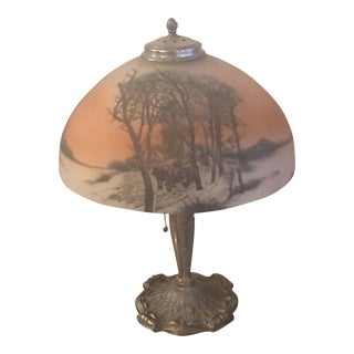 Pewter Table Lamp with Painted Glass Shade