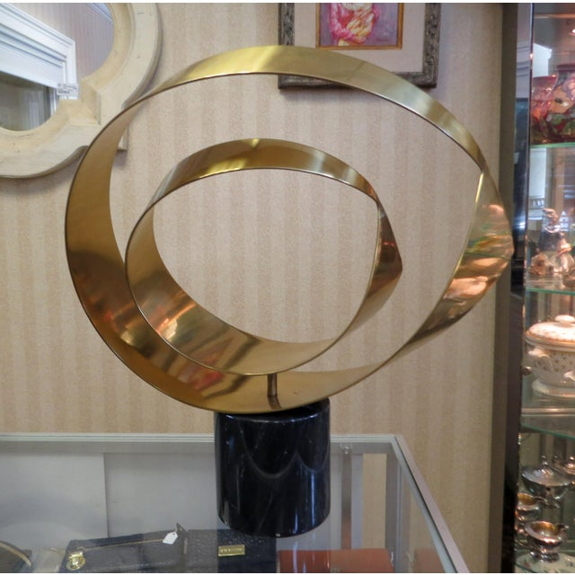 Curtis Jere Ribbon Brass & Marble Sculpture - Image 3 of 10
