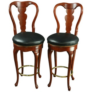Queen Anne New Bar Stools - Pair