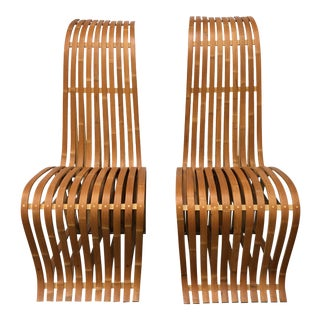 Gehry Style Bentwood Bamboo Chairs - a Pair