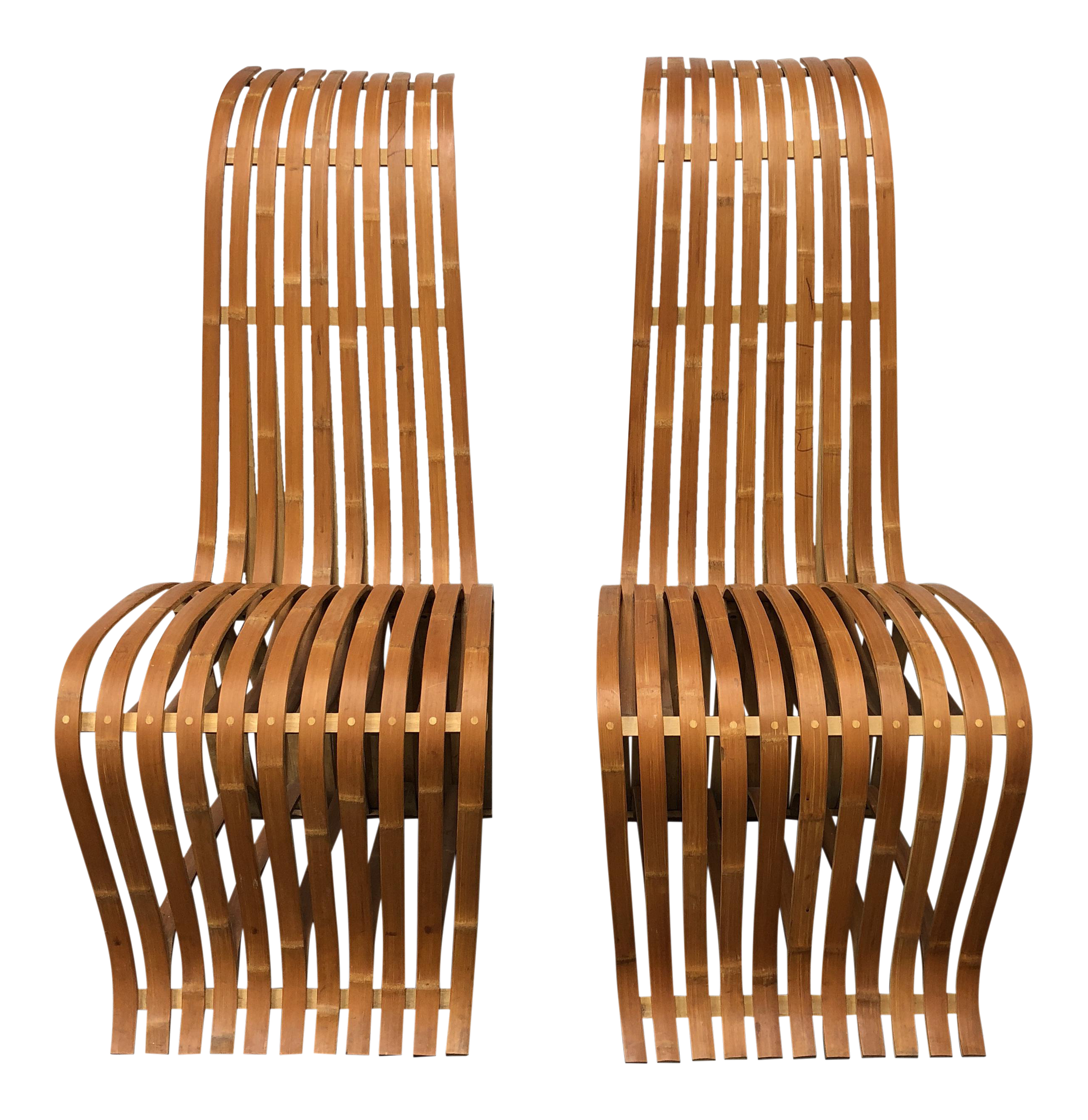 gehry style bentwood bamboo chairs a pair