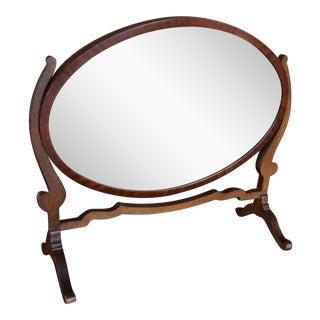 English Oval Mahogany Dressing Table Mirror