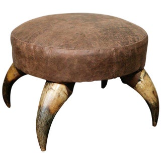 Antique Horn Stool with Leather Upholstery